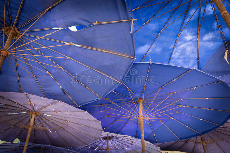 The Sand beach and umbrella of cha-am beach royalty free stock photos
