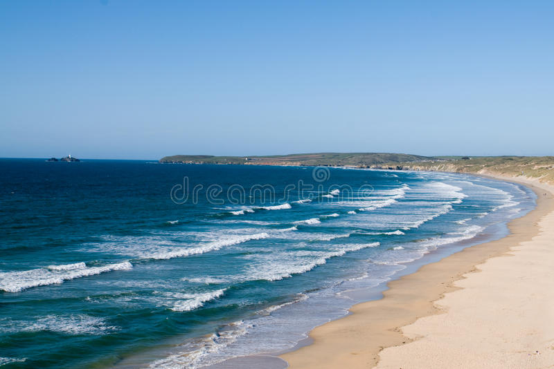 Sand Beaches, Cornwall, England. The famous beaches of Cornwall, England stock photo