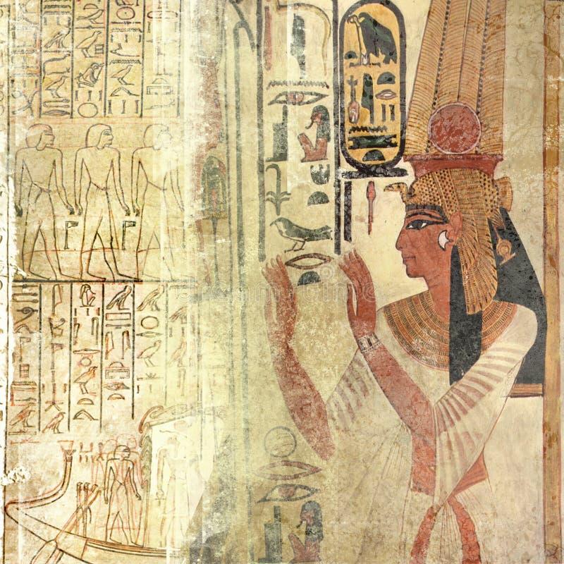 Sand-beige Egypten textur med drottningnefertiti och royaltyfria foton