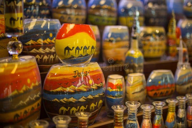 Sand bottle souvenirs at the Madinat Jumeirah Souk, Dubai, UAE royalty free stock photos