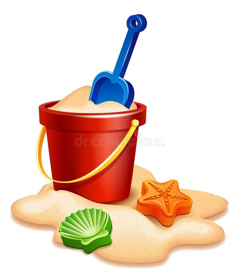 Sand Bucket, shovel and rake royalty free illustration