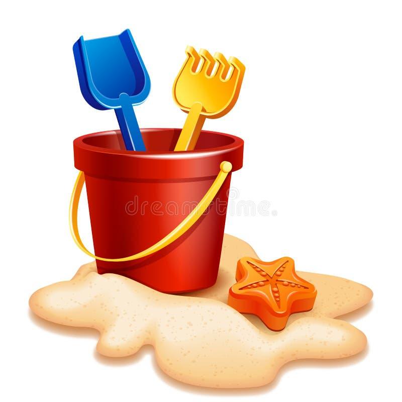 Sand Bucket, shovel and rake stock illustration