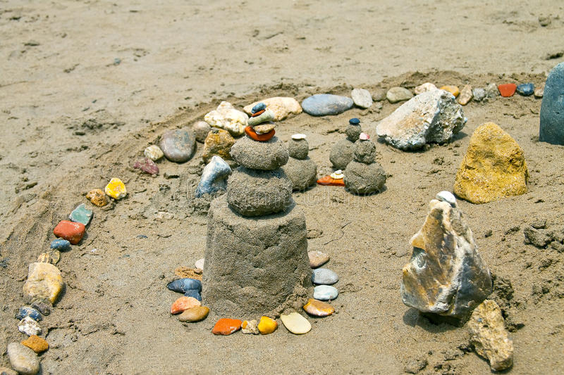 Sand castle. On the beach royalty free stock photography