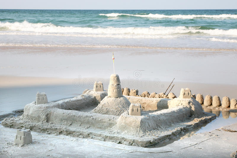 Download Sand castle on the beach stock image. Image of tropical - 15679197