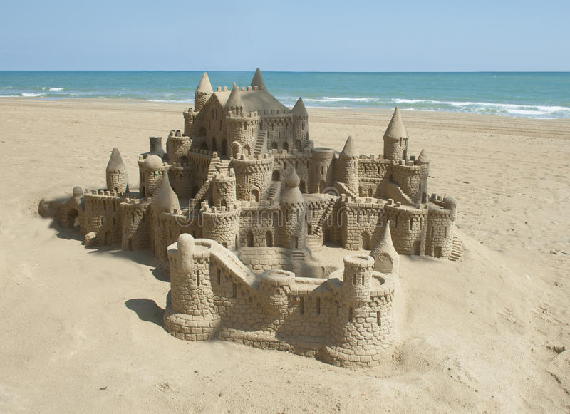 Sand castle. A sand castle on the beach stock image