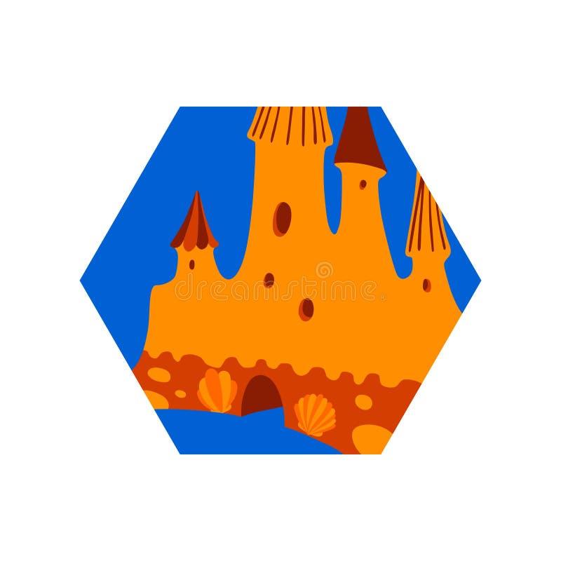 Sand castle on beach, decorated with seashells. Hexagon vector modern illustration, summer time design element, blue and orange vector illustration