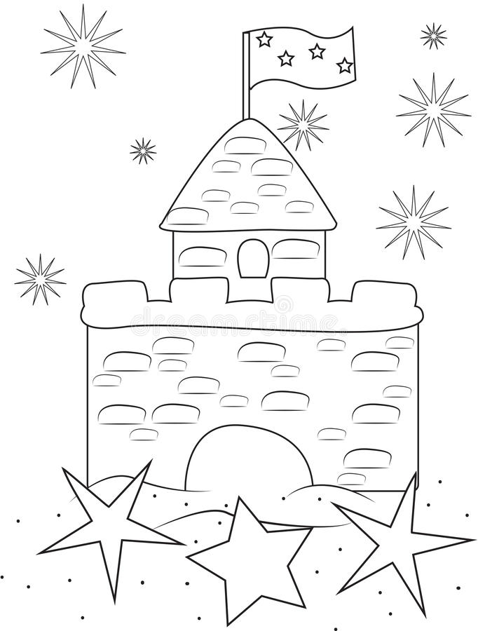 download sand castle coloring page stock illustration illustration of closeup 51072817 - Sand Castle Coloring Page