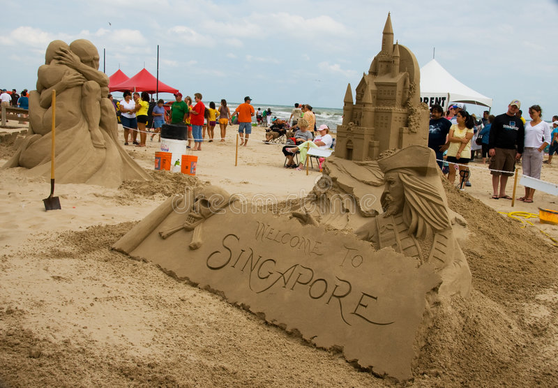 Sand Castle Day on South Padre Island stock image