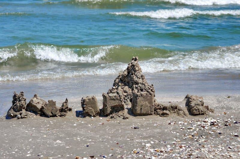 Sand castle. Seascape. Summer, sea, sun, beach, fun, holiday - Black Sea, landmark attraction in Romania royalty free stock image