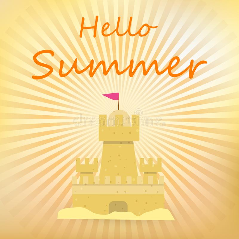 Sand Castle, Hello Summer Banner with Sandcastle stock illustration