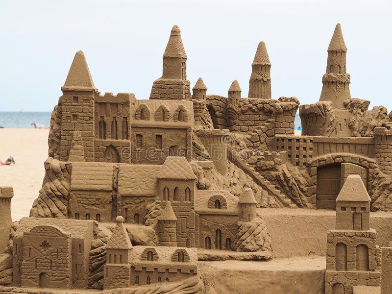 Sand castle. A lavish and large sand castle on an empty beach royalty free stock photo