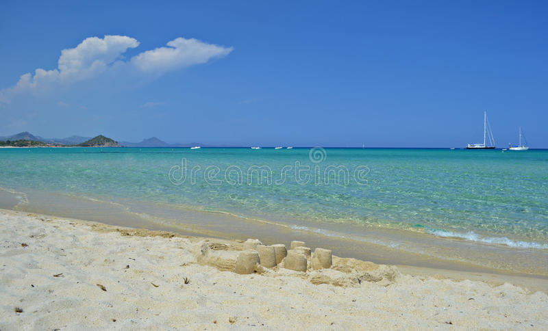 Sand castle and sea royalty free stock images