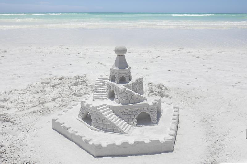 Sand Castle On A White Sandy Beach royalty free stock images