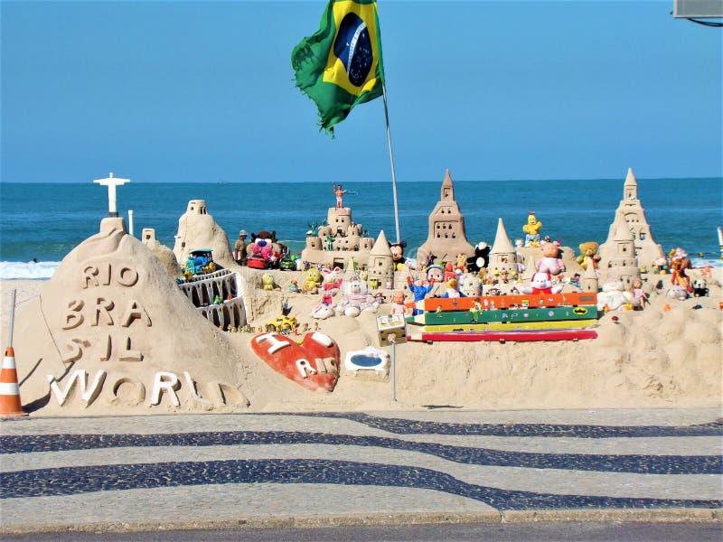 Sand castles. Exposition in Rio de Janeiro stock images