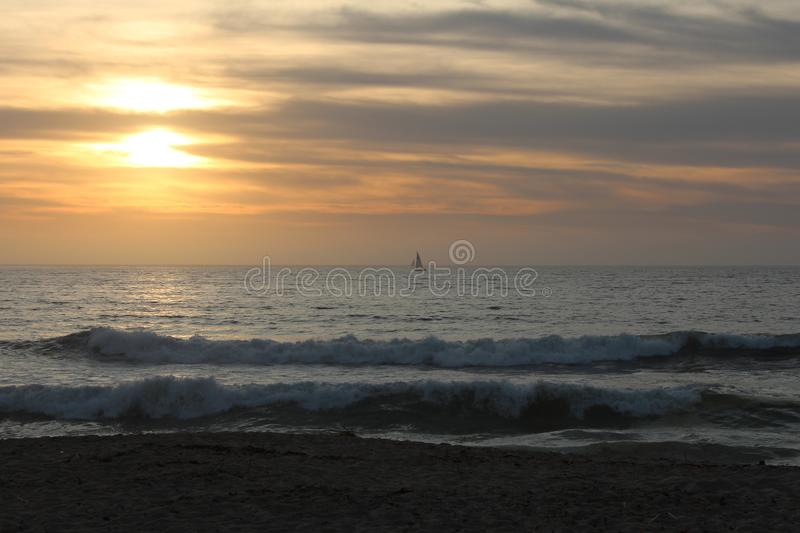 View of the waves in Sand City beach in Monterey County, California, United States. Sand City is a city in Monterey County, California, United States, located on stock photos