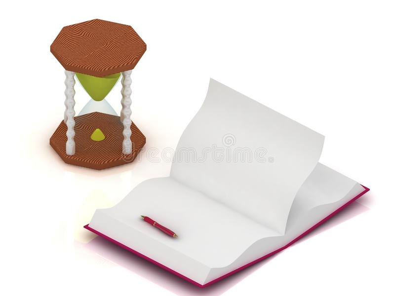 Download Sand Clock, Open A Blank Book And Pen Stock Photography - Image: 26116082