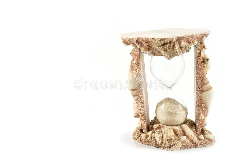 Sand Clock, Shells Send Clock, isolated on white background stock illustration