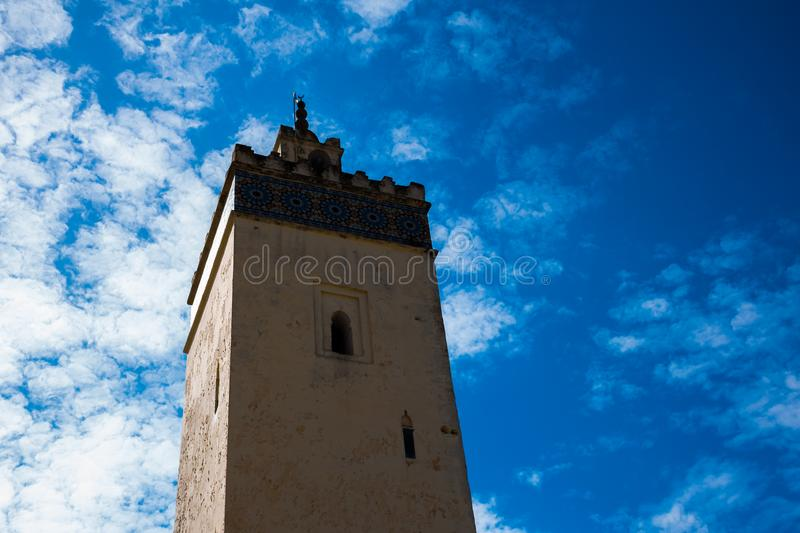Sand color of the facade of mosque of Bab Boujloud in Fez, Morocco, Africa royalty free stock images