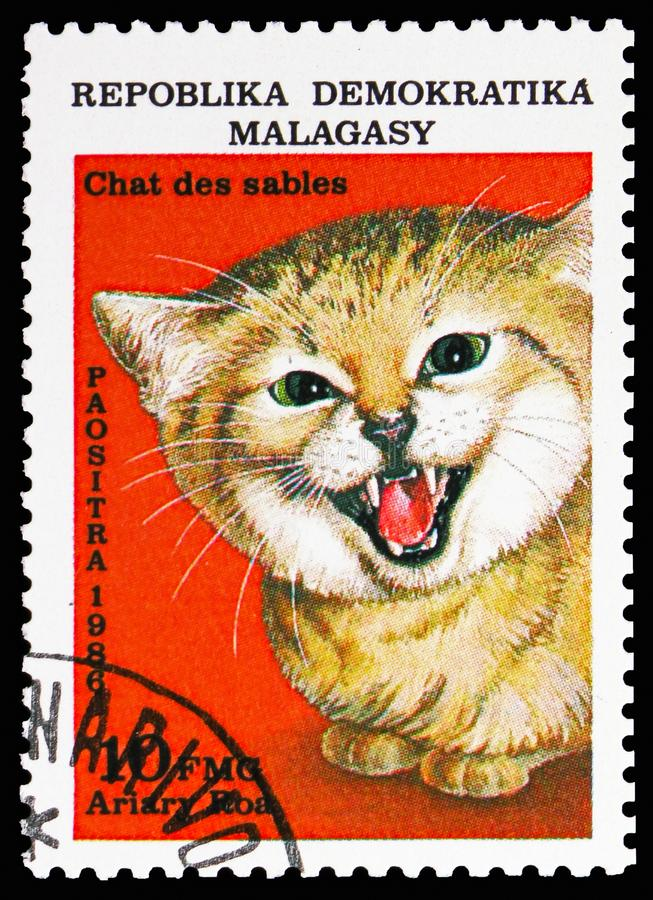 Sand Dune Cat (Felis margarita), Wildcats serie, circa 1986. MOSCOW, RUSSIA - NOVEMBER 10, 2018: A stamp printed in Madagascar shows Sand Dune Cat (Felis stock images