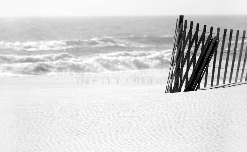Sand Dune Fence on Beach stock images