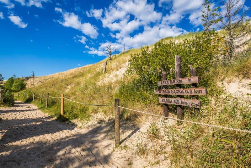 Sand dune tourist trail sign wooden gate to Wydma Lacka - Slowi. Nski National Park near Leba, Baltic Sea, Poland stock image