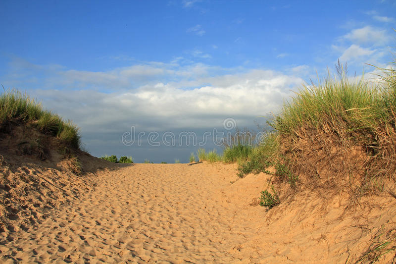 Sand Dunes Along Lake Michigan, USA. Sand dunes in Sleeping Bear National Park, along Lake Michigan in Michigan, USA royalty free stock photos