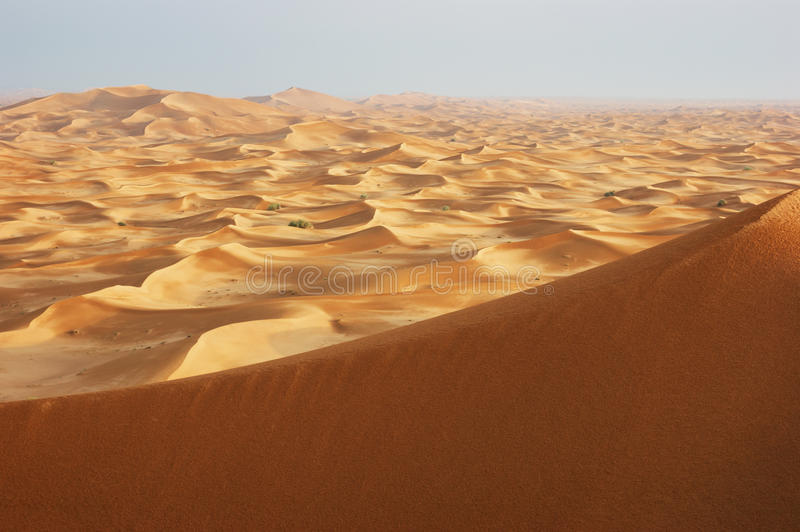 Sand dunes of the arabian desert stock images
