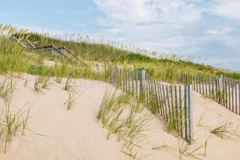 Sand Dunes, Beach Grass and Sand Fences at Nags Head stock photography