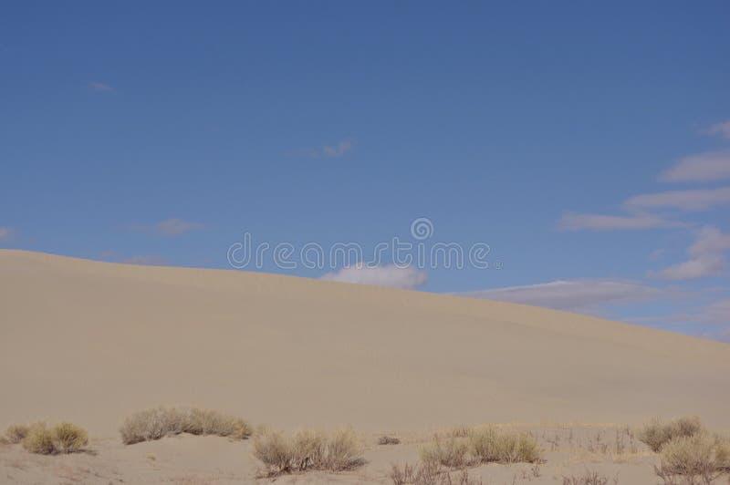 Killpecker sand dunes Wyoming USA. Sand dunes and blue sky with clouds. Killpecker sand dunes in Wyoming desert USA stock photo