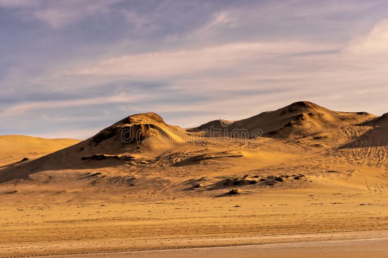 Sand dunes at the coast of south morocco stock photo