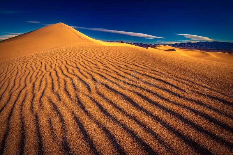 Sand dunes in Death Valley National Park. This is a photograph of Death Valley National Park with sand dune textures royalty free stock photo