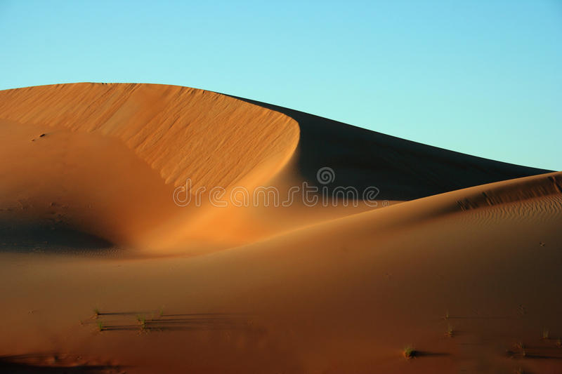 Sand dunes in desert. Scenic view of sand dunes in desert with blue sky background royalty free stock images