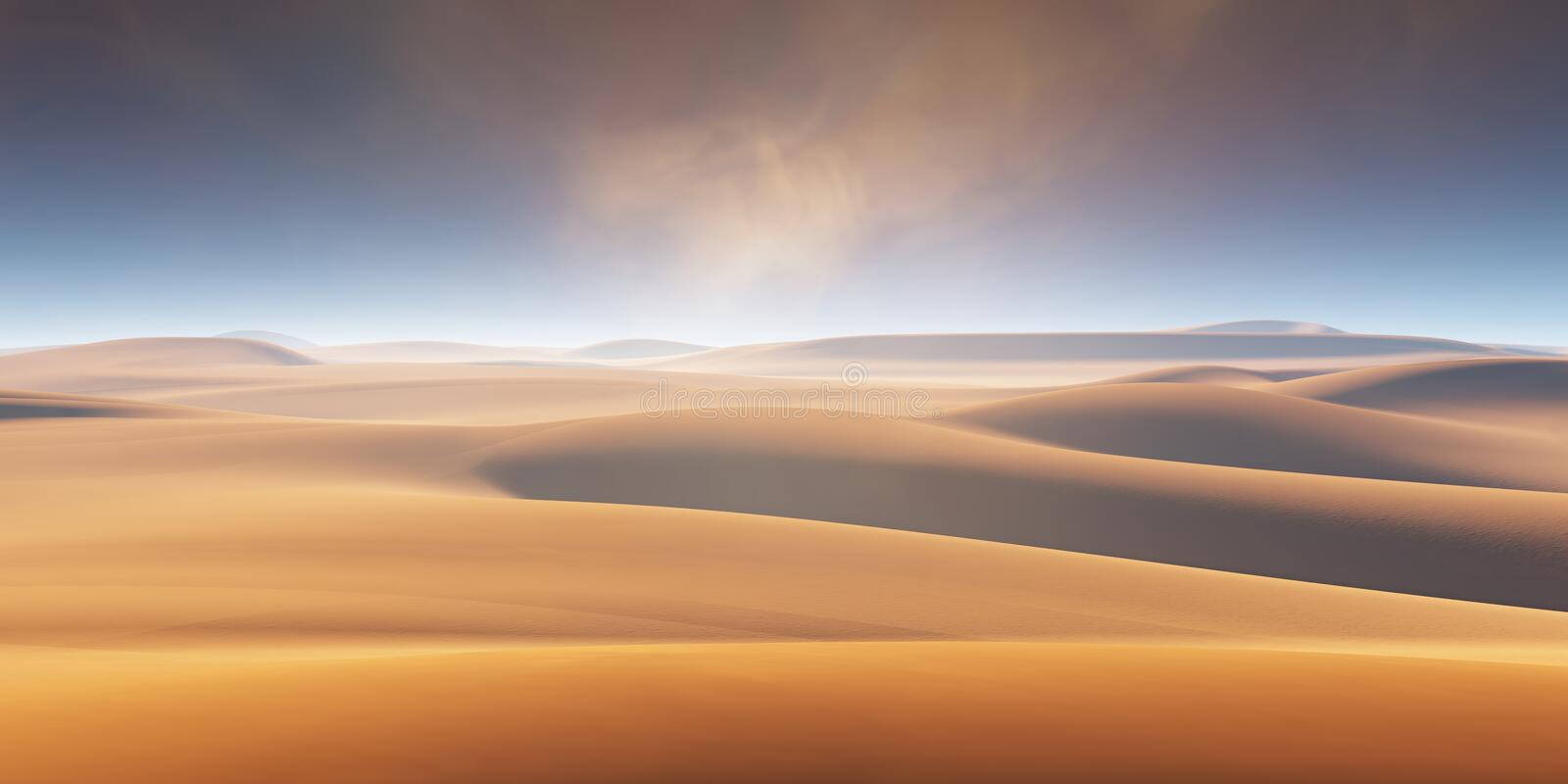 Sand dunes and dust storm in the desert, hot and dry desert landscape royalty free illustration
