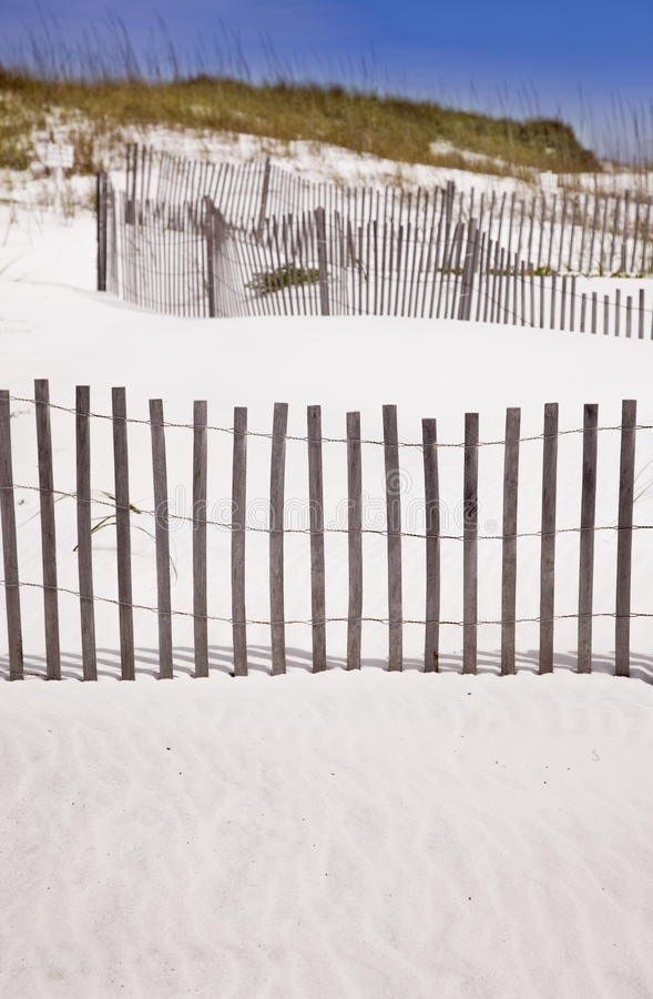 Sand Dunes and Fence at the Beach stock photography