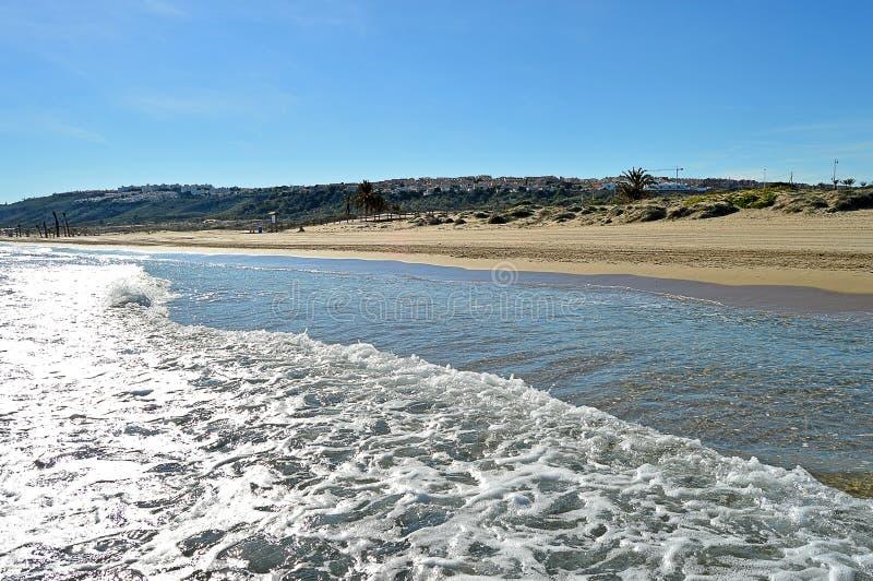 The Sand Dunes In Gran Alacant Spain - Desert Island Paradise stock photo