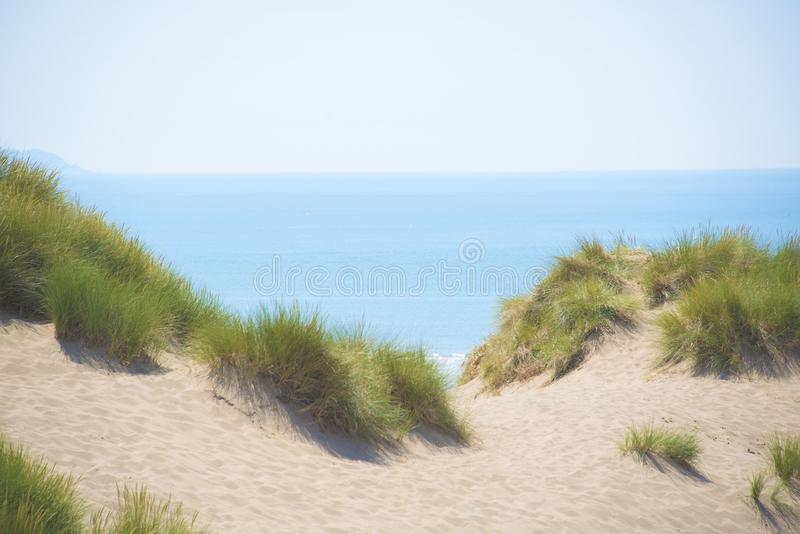 Sand Dunes, grass and a blue see and sky. stock photo