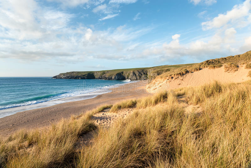 Sand Dunes at Holywell Bay stock images