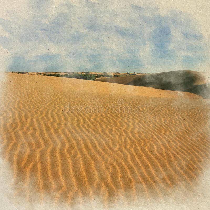 Sand dunes landscape. Digital Art watercolor on vintage paper cr. Eated by Photographer stock images