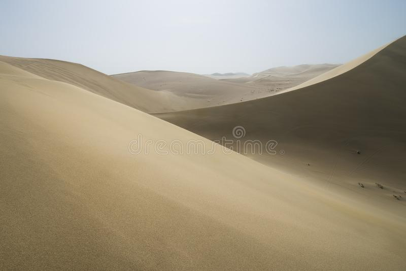 Sand dunes landscape and some waves of sand in Gobi Desert in China, Gobi Desert, China. Sand dunes landscape and waves of sand in the Gobi Desert in China, Gobi stock photo