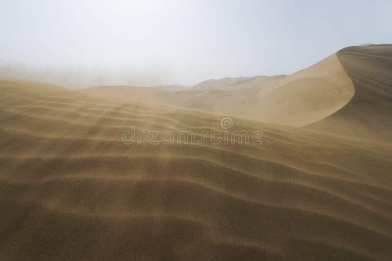 Sand dunes landscape and sand waves in Gobi Desert in China, Gobi Desert, China. Sand dunes landscape and waves of sand in the Gobi Desert in China, Gobi Desert stock image