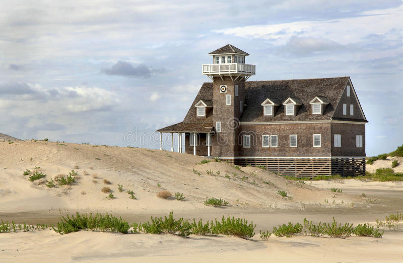 Sand Dunes,Life Saving House, Outer Banks. The Life Saving House sand dunes on the outer banks of North Carolina stock photos