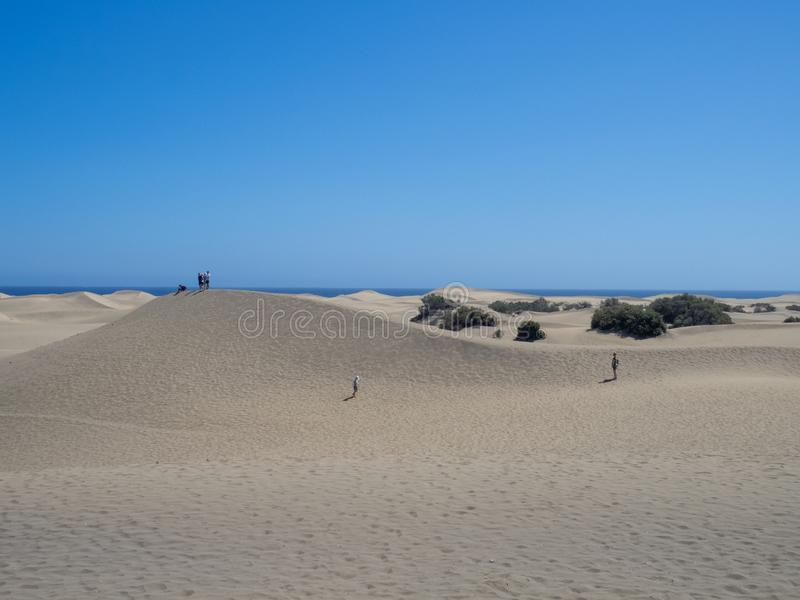 Sand dunes at Maspalomas, Gran Canaria. Gran Canaria/Spain - August 13 2019: Sand dunes at Maspalomas. Maspalomas is a tourist town in the south of the island of royalty free stock photos