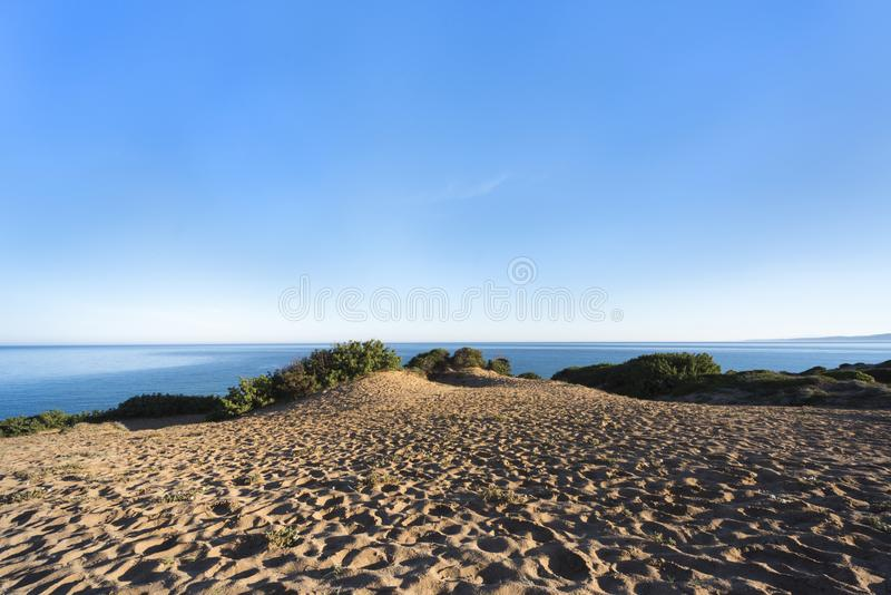 Sand dunes with myrtle vegetation in front of blue ocean and blue sky - green coast `Costa Verde`, Scivu, Sardinia, Italy. Europe royalty free stock image