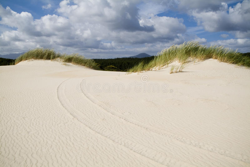 Sand Dunes and Sky. Large coastal sand dunes in Australia with tyre tracks stock photos