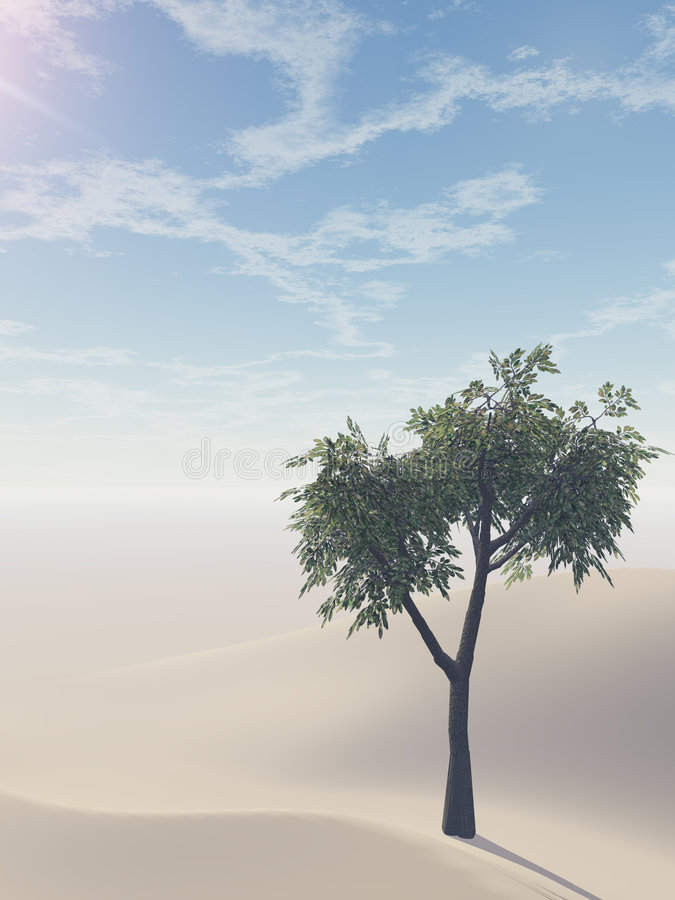 Sand Dunes and Thriving Tree royalty free illustration
