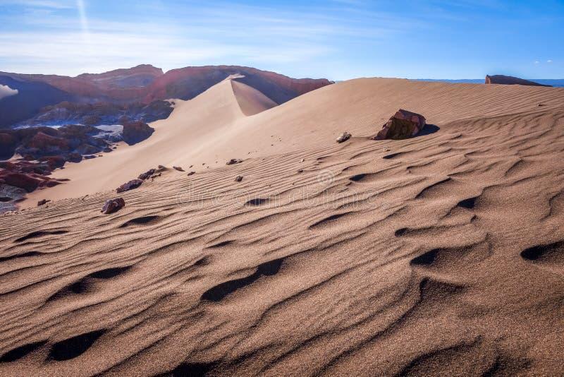 Sand dunes in Valle de la Luna, San Pedro de Atacama, Chile. Sand dunes landscape in Valle de la Luna, San Pedro de Atacama, Chile royalty free stock photos