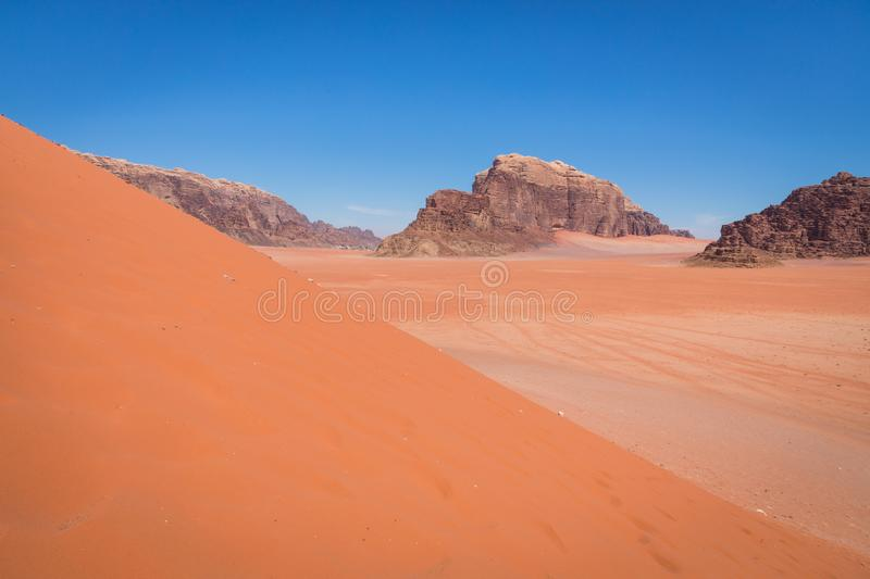 Sand-dunes in Wadi-Rum desert, Jordan, Middle East.  stock photos