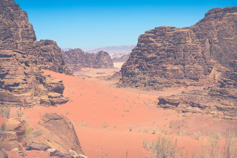 Sand-dunes in Wadi-Rum desert, Jordan, Middle East.  stock photography