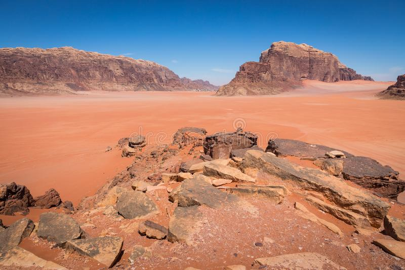 Sand-dunes in Wadi-Rum desert, Jordan, Middle East.  royalty free stock photos