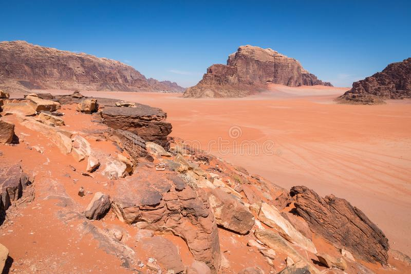 Sand-dunes in Wadi-Rum desert, Jordan, Middle East.  stock images